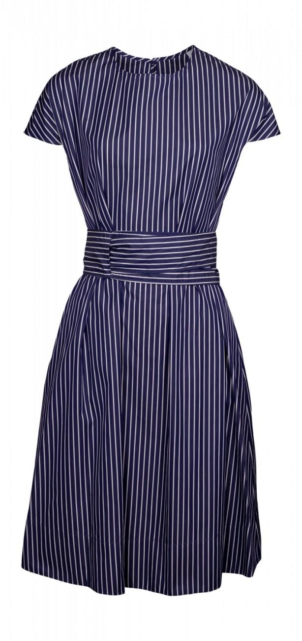 aspesi kleid aus popeline blau gestreift online kaufen