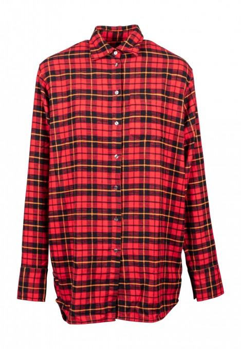 0039 Italy Damen Hemdbluse Nike aus Leinen rot