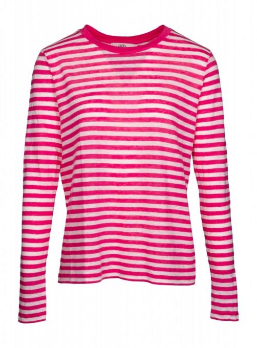 0039 Italy Damen Longsleeve Thelma Stripe pink
