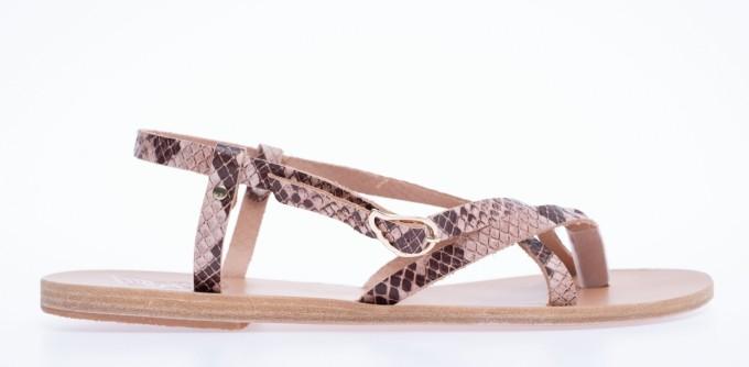 Ancient Greek Sandals Damen Sandale Semele Python braun