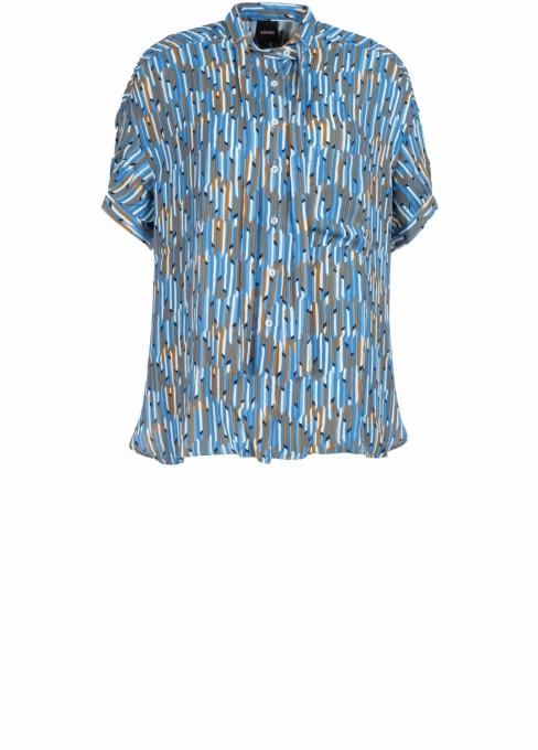 Aspesi bluse halbarm blau