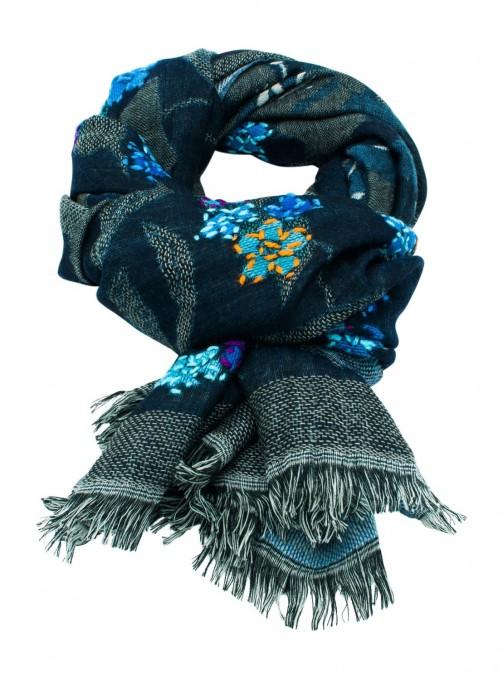 Damen Schal aus Wolle blau türkis
