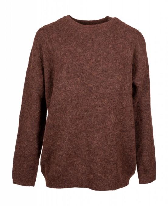 bloom Damen Pullover aus Merinowolle und Alpaka braun