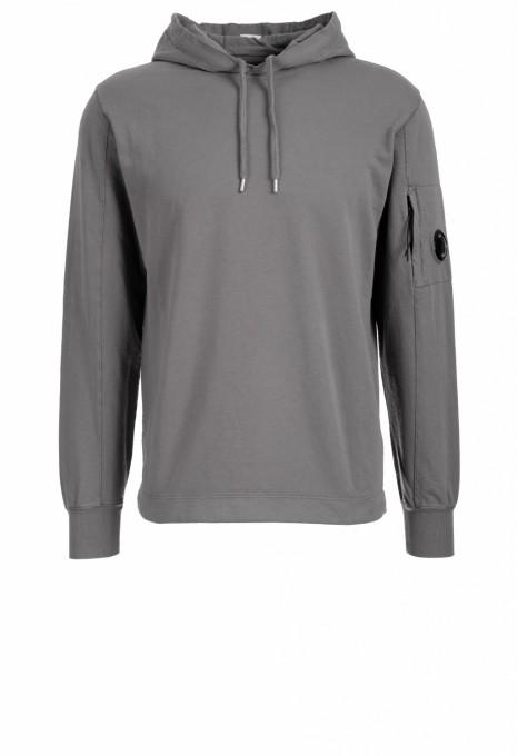 C.P. Company Herren Hoodie Light Fleece Garment Dyed grau