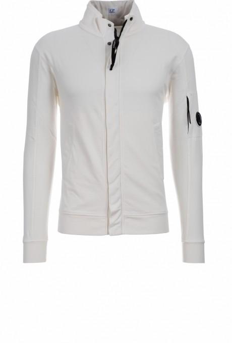C.P. Company Herren Jacke Light Fleece Garment Dyed gauze white