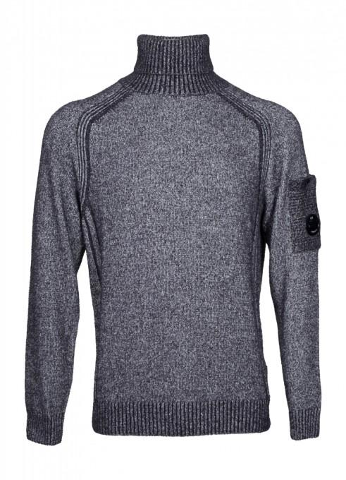 C.P. Company Herren Rollkragenpullover Fleece Knit Lens cement grau