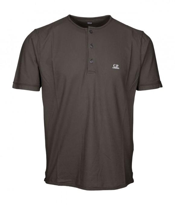 C.P. Company Herren T-Shirt mit Knopfleiste Forest Night