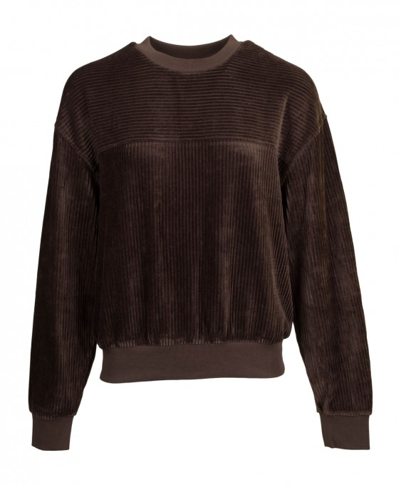 CLOSED Damen Cord-Sweatshirt 95930 dark lava