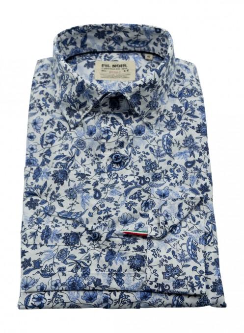 Fil Noir Herrenhemd aus Baumwolle mit Flowerprint blau