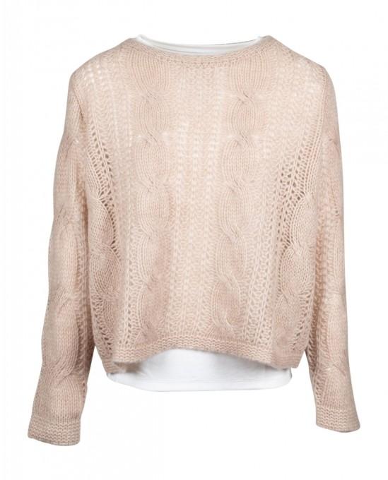 Hemisphere Damen Pullover aus Kaschmir/Seide sand