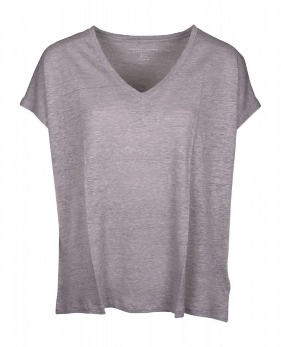 Majestic Damen Shirt aus Leinen/Seide grau