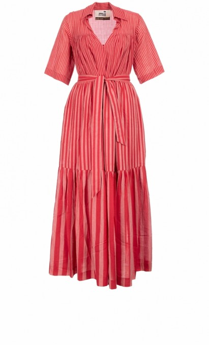 Mii Damen Kleid Michelle Les Rayees rot