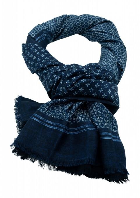 Rosi Collection Seiden-Schal Corvara Blau gemustert
