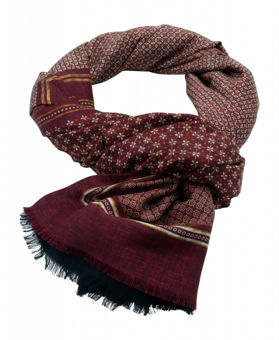 Rosi Collection Seiden-Schal Corvara Rot gemustert