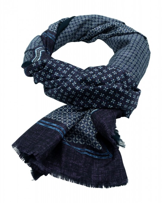 Rosi Collection Seiden-Schal Corvara Violett/Blau gemustert