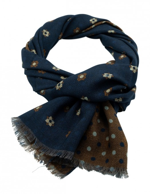 Rosi Collection Woll-Schal Bormio blau/braun