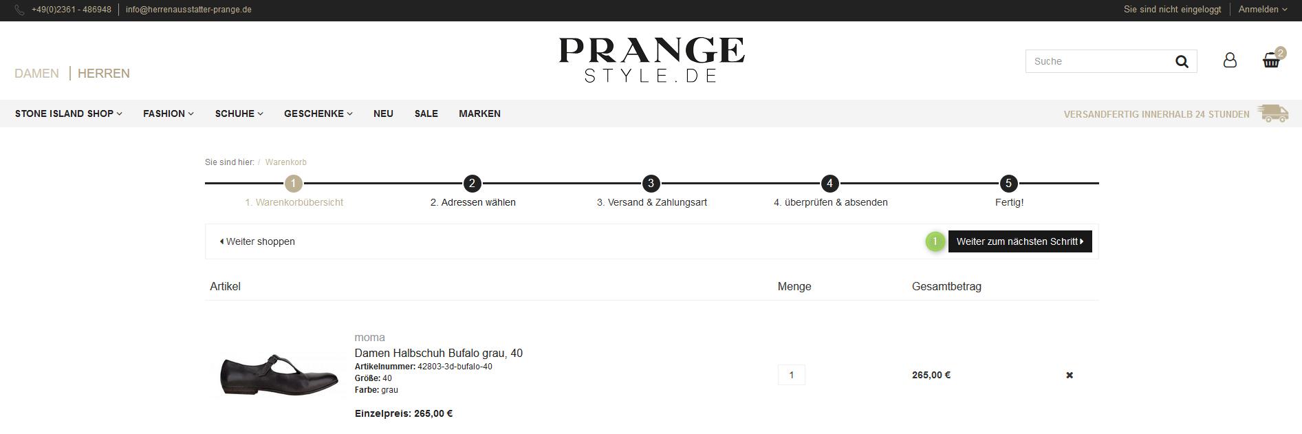 Artikel im Warenkorb bei Prange Style